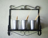 Vintage Wrought Iron Shelf, Wall Display, Garden Art, Organizer, Home Decor