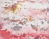 Encaustic Art: Fireburst Sunset, sun, moons, abstract sky paintings