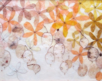 May Showers, encaustic painting, framed art, flower painting, money plant
