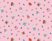 Milk, Sugar & Flower and Kitten Cottons Fabric Pink for Penny Rose Fabrics - 1 Yard