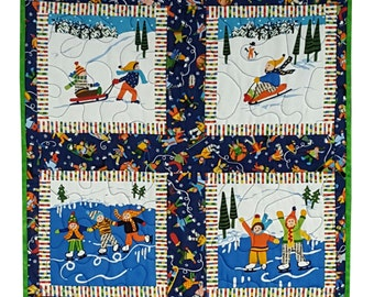 Quilted Wall Hanging in Winter Fun Scenes