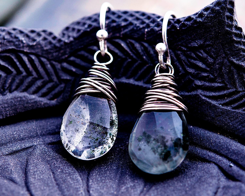 Drop Earrings Gemstone Earrings Terrarium Jewelry Lodolite  # Terrarium Dangle