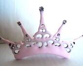 Pink Clock hand Tiara lolita princess steampunk Neo Victorian distressed pink Tiara- The Queens Passion