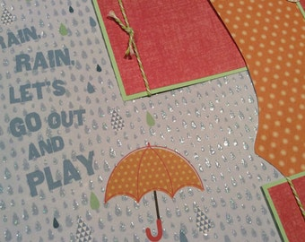Premade Two-Page Scrapbook Layout, Rainy Day Layout, Playing in the Rain, Umbrella, Album Pages, Scrapbook Album Pages, Rain