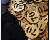 70th Birthday Party Confetti 3/4 Inch Circles - 70 - Black and Kraft Brown or Your Colors