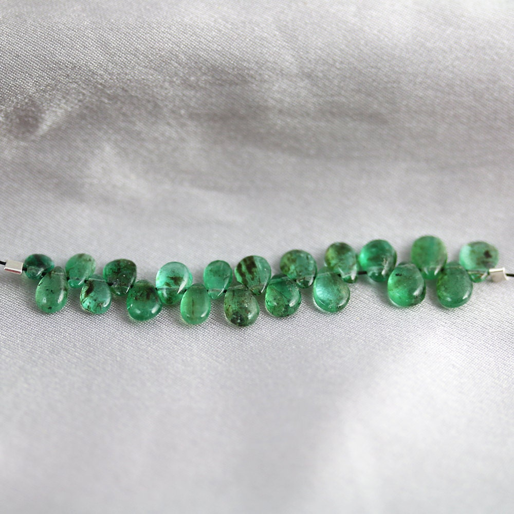 Emerald Bead Beads: Natural Emerald Beads 20 Tiny Briolettes By