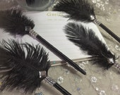 12 Elegant Black Ostrich Feather Pen Favors in your choice of Gold or Silver Bling
