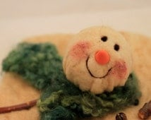 Mr. Melty, Prim Snowman, Melted Snowman, Needle Felted Snowman #1915