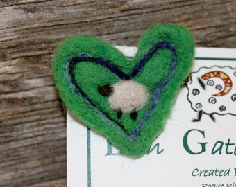 Sheep, Needle Felted Sheep Pin , Sheep Jewelry #1536