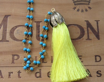 Yellow Tassel Necklace with Blue Turquoise Chain