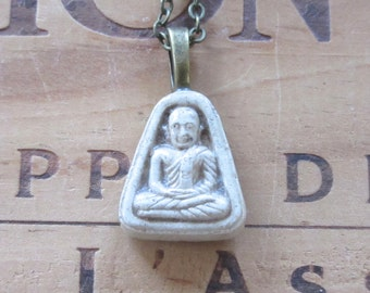 Small Vintage Clay Buddhist Charm Necklace