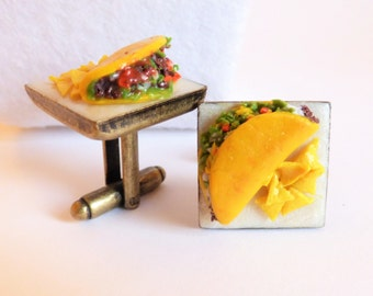 Taco and Chips Cufflinks - Delicious Cufflinks - Miniature Food Art Jewelry Collectable by Schickie Mickie