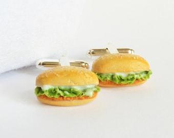 Chicken Sandwich Cufflinks - Delicious Cuff Links - Miniature Food Art Jewelry Collectable - Schickie Mickie Original 100% Handmade