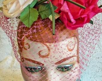 Vintage 1950s Ladies Pink Roses Fascinator Hat Veil Millinery