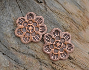Copper Woodblock Flower Component (1 pair)