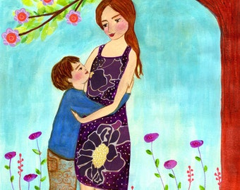 Mother and Son Art Print - Motherhood Art Print - Mother and Child Painting - Nursery Wall Art