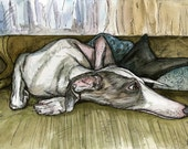 Dog Art Print - Whippet Illustration