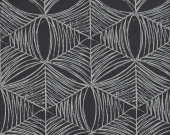 SALE - Free Spirit Fabrics Parson Gray Curious Nature Spiderweb SATEEN in Tailcoat - Half Yard