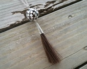 horse hair & shell checkerboard ball pendant // nickel free jewelry // horse hair jewelry // unique handmade jewelry // HEY187