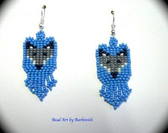 Grey Fox Native American Style Handwoven Long Dangle Seed Bead Earrings Fashion Earrings Boho Southwestern