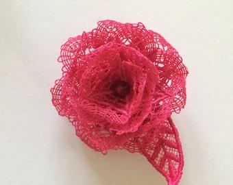 FSL Pink Lace Rose Brooch
