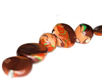 Polymer Clay Round and Disk Beads - Handmade - One of a Kind - 9 Piece - Liquidation Sale