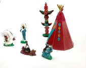 Littlest Plastic -Vintage Indian -Cupcake Toppers -Diorama Art or Snow Globes