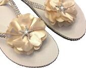 Bridal Flip Flops - Wedding Flip Flops - Champagne Flip Flops - StarFish  Flip Flops - Bridal Beach Sandals - Custom Flower Colors