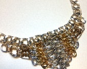 Statement necklace. Silver and gold necklace.