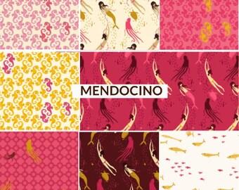 Mendocino Heather Ross Wyndham Fabrics, Fat quarter 8-pc set - Pink/Yellow Palette cotton quilting fabric bundle