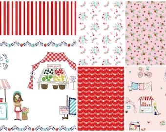 Vintage Market Bundle, Riley Blake cotton fabric, red palette - half yard set of 5
