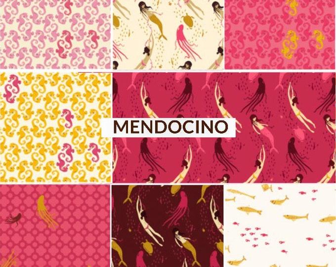 Mendocino Heather Ross Windham Fabrics, Fat quarter 8-pc set - Pink/Yellow Palette cotton quilting fabric bundle