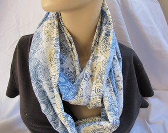 Blue and Tan Print Cowl/Circle Scarf/Infinity Scarf (5543)