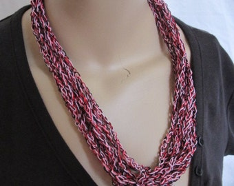 SALE - Pink Red and Black Chain Link Cowl/Necklace (5176)