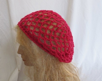 Bright Pink Lacey Slouchy Beret/Tam/Dreadlock Hat (5258)