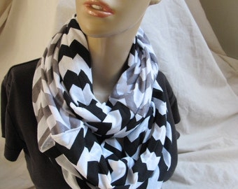 2 Tone Chevron Hidden Pocket Jersey Cowl/Circle Scarf/Infinity Scarf (5389)