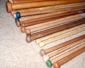 RESERVED for BBW - Instant Collection Vintage Wood Knitting Needles - Antique Wooden Needles - Afghan, Blankets, Rug Supplies