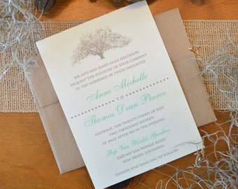 Rustic Savannah Live Oak Wedding Invitations