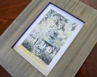 Lafayette Square Fountain - Mini Savannah Watercolor Print