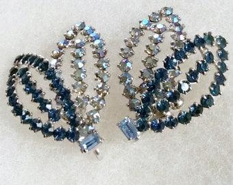 Vintage 1960s Earrings, clip on, Double Leaf cobalt blue, aurora borealis, rhinestones