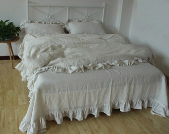 Set of 3 Shabby chic Pre washed 100% Linen Bed Linen Duvet Quilt Cover Ruffles with 2 matching Pillowcases cream / off white