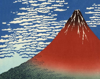 Red Fuji Southern Wind Clear Morning on mono deluxe Needlepoint Canvas