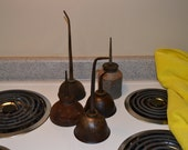 5 Vintage Small Oil Cans, Spouts, Industrial