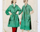 1950s Womens Smock Sewing Pattern Large Duster House Coat with Patch Pockets Advance 7977 / Size 14-16