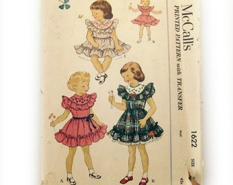 1950s Girls Dress Vintage Pattern - Child's Dress with Ruffled Yoke and Skirt - McCall's  1622  // Size 4