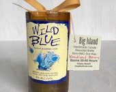 Wild Blue Beer Blueberry Lager Upcycled Bottle Candle Choose Woodland Berry Scented or Unscented Blue Soy Candle