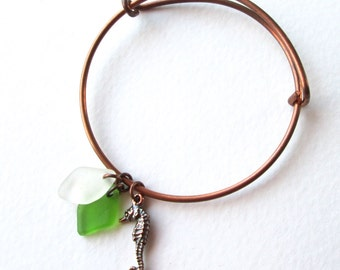 Adjustable Copper Bangle Bracelet with a Copper Sea Horse Charm and Genuine Bright Green and White Sea Glass Charms