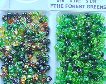 BEADS, CZECH,  6/0 ,Green, GLASS, Seed,  Rocailles, 6/0, Spacer,  Mix, 36 Inch, Crystal, I