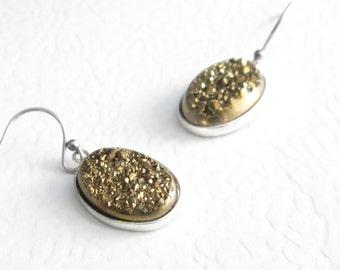 Gold Druzy Earrings, Metallic Titanium Crystal Jewelry, Glitter Earrings