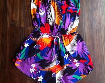 80's Strapless Tropical Shorts Romper